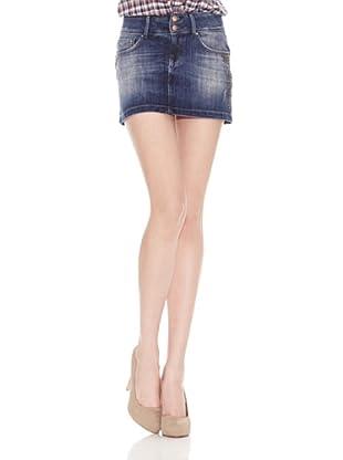 Salsa Minifalda Recta Básica (Azul)