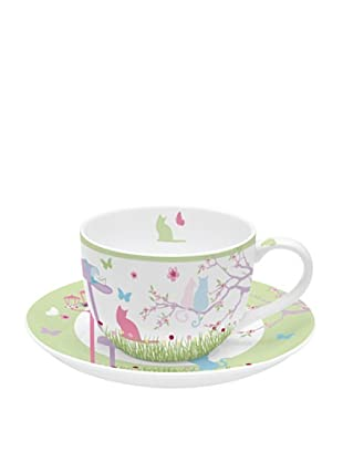 Easy Life Design Tazza da Tè con Piatto in Porcellana Bone China Cats180 ml