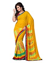 Dlines Musterd coloured Printed saree
