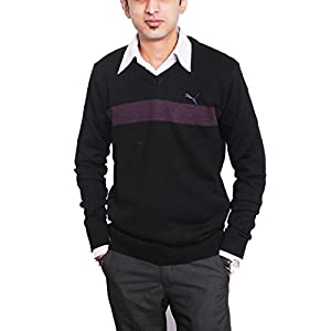 Puma Men's Cotton Striper Sweater-Black-Medium(83077605)