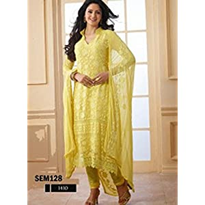 Charming Yellow Long Embroidered Salwar Kameez