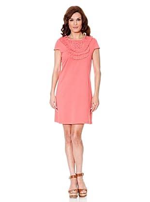 Cortefiel Kleid Stickerei (Rosa)