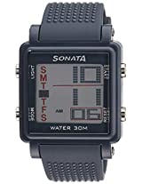 Sonata Super Fibre Digital Grey Dial Men's Watch - 77043PP02