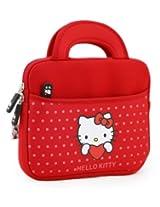 "Hello Kitty Themed Apple iPad Mini / 8"" Tablet Sleeve w/ Handles in Polka Dot Red (Neoprene, Water Resistant, Branded YKK Zippers, Soft Plush Inner Lining)"