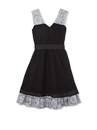 Blush by US Angels Girl's Lace-Trimmed Chiffon Dress (Black/Grey)
