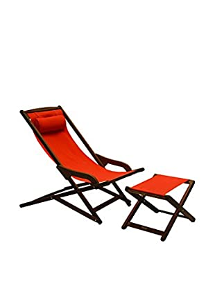 Outdoor Interiors Eucalyptus Sunbrella Swing Lounger with Ottoman, Brown/Melon
