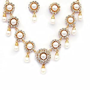 Trendy Souk Pearl Choker Necklace For Women (Gold)