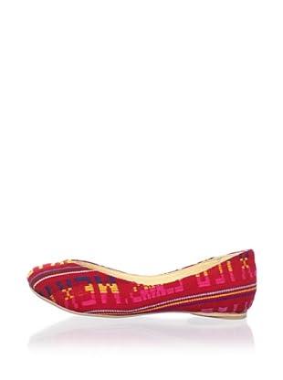 Fiel Women's Suyan Artisianal Ballet Flat (Red Patterned)