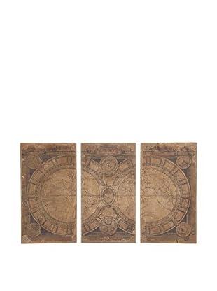 Wooden World Atlas Triptych