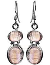 Rainbow Moonstone Earrings - Sterling Silver