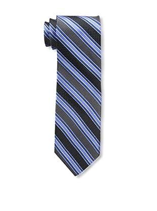 Bruno Piattelli Men's Stripe Silk Tie, Blue Charcoal