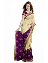 Utsav Fashion Women's Beige and Purple Art Bhagalpuri Silk and Net Saree with Blouse