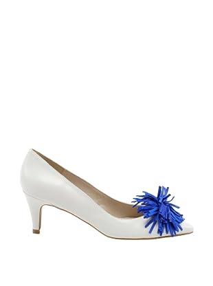 Misu Zapatos Salón borlas (Blanco / Azul Eléctrico)