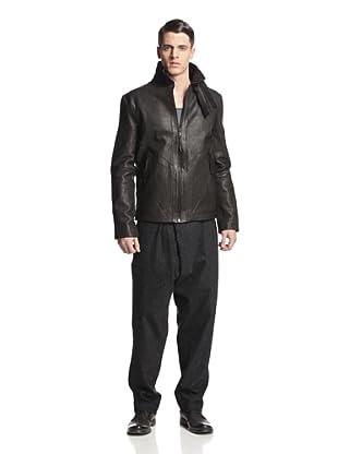 Alexandre Plokhov Men's Funnel Neck Leather Jacket (Charcoal Black)