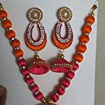 orange necklace with earrings