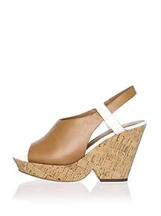 Ash Women's Queena Peep-Toe Wedge Sandal (Natural/White)