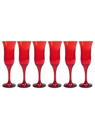 Pasabahce Set 6 Calici Flute Rosso