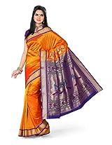 ISHIN Paithani Tana Silk Orange Saree