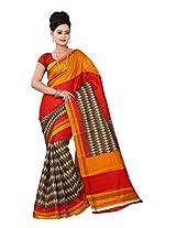 Parichay Women's Bhagalpuri Silk Saree(Gold, Red)