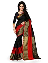 Shree Sanskruti Women's Poly Cotton Saree (Raj Haka Black_Black and Red)