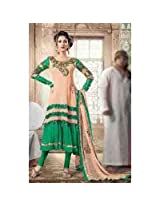Brijraj Apricot And Green Suit For Women