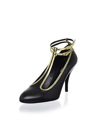 Delman Women's Fair T Ankle Strap Pump (Black/Gold)