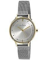 Skagen End-of-Season Gitte Analog White Dial Women's Watch & Glass Pearl Necklace(Gift Set)-SKW1058