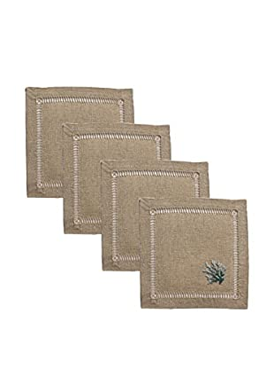 Henry Handwork Set of 4 Blue Coral French Knot Cocktail Napkins, Natural