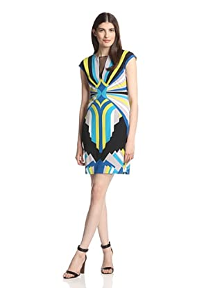 Muse Women's Printed Dress with Mesh (Blue/Multi)