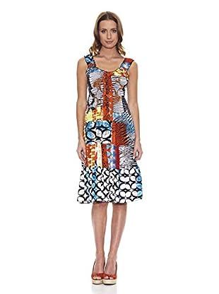 Peace & Love Vestido Cuello Redondo Geométrico (Multicolor)