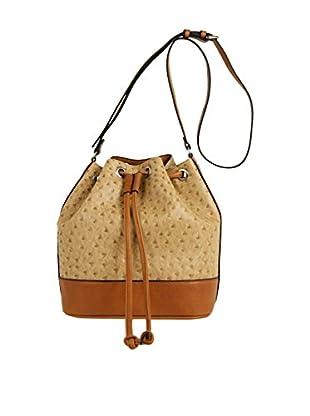 Emilie M. Women's Jane Ostrich Drawstring Bucket Bag, Sand/Cognac
