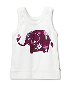 Pink Chicken Girl's Joy Elephant Graphic Tank (White)