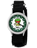 Disney Kids' W000162 Muppets Kermit Stainless Steel Time Teacher Watch with Black Nylon Band