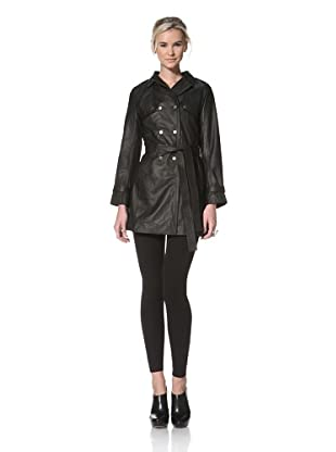 HARE + HART Women's Laird Leather Trench Coat (Black)