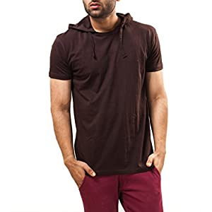 Unisopent Designs Men's Hooded Half Sleeve Cotton T-Shirt [Brown_Small]