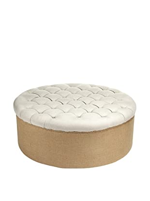 Zentique Tufted Round Ottoman, Natural
