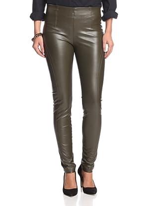 Byron Lars Women's Faux Leather Slim Pant (Olive)