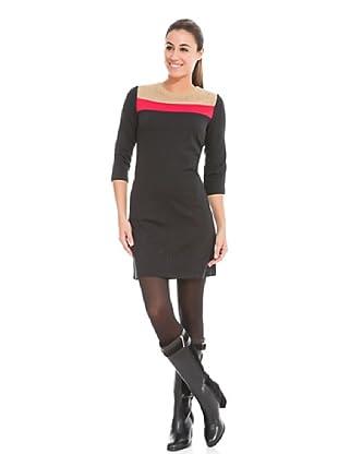 Cortefiel Vestido Tricolor (Negro)