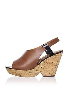 Ash Women's Queena Peep-Toe Wedge Sandal (Camel/Black)