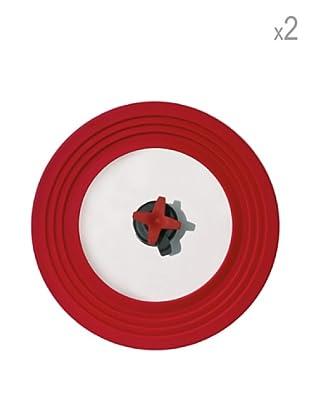 Pavoni Set 2 Tapas Con Válvula de Silicona Rojo