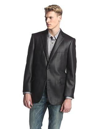 Profile Men's 2-Button Faux Leather Hybrid Blazer (Black)