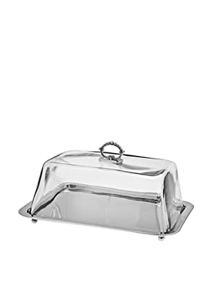 Godinger Rectangle Tray Glass Dome, Nickel
