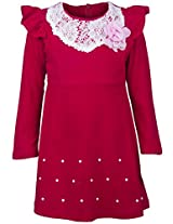 Real Princess Cotton Red Dress For Kids-Girls (Age Group: 4-5 Years)