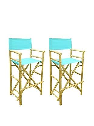 ZEW, Inc. Set of 2 Bamboo High Director Chairs, Aqua