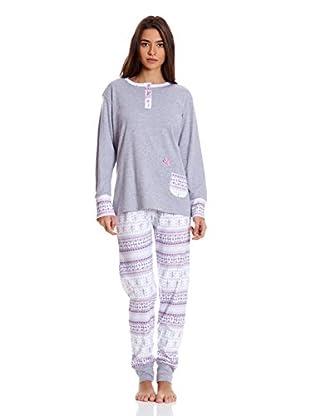 Muslher Pijama Señora Con Tapeta Bolsillo Fantasia (Gris)