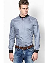 Blue V Neck Casual Shirts