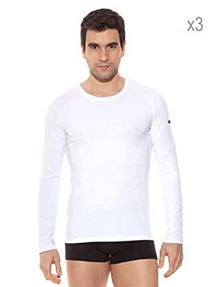 Pierre Cardin Pack x 3 Camisetas M / Larga (Blanco)