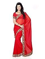 Shariyar Red Georgette Saree PRG325