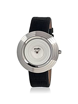 Simplify Women's 1701 The 1700 Beveled Black & White Leather Watch