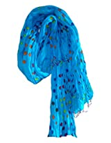 Famacart Women's Ethnic Wear Cotton Blue Dupatta